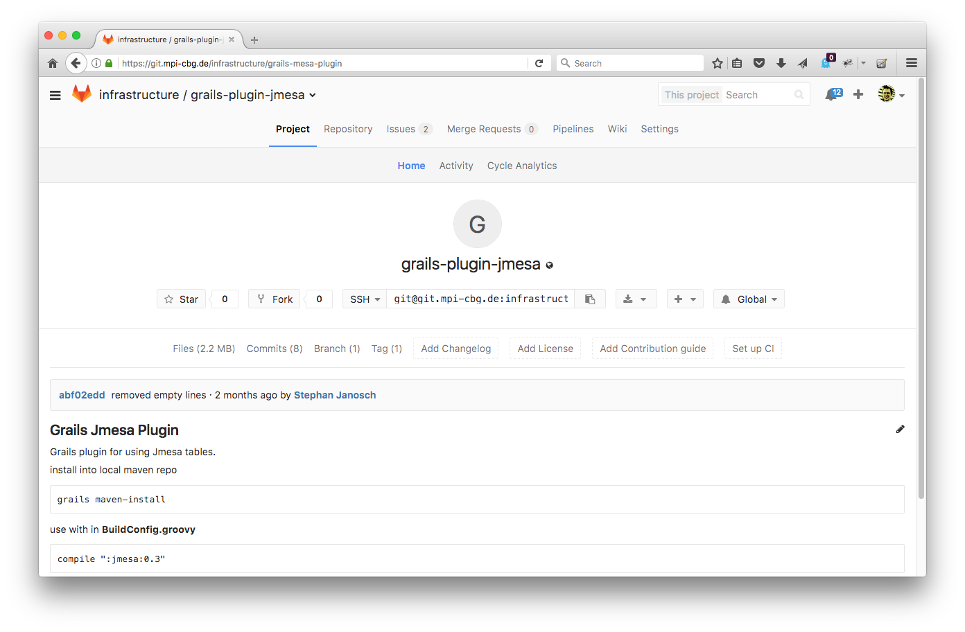 gitlab project page