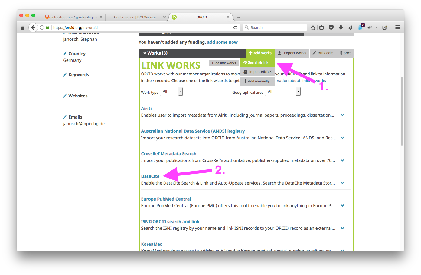 orcid profile add content